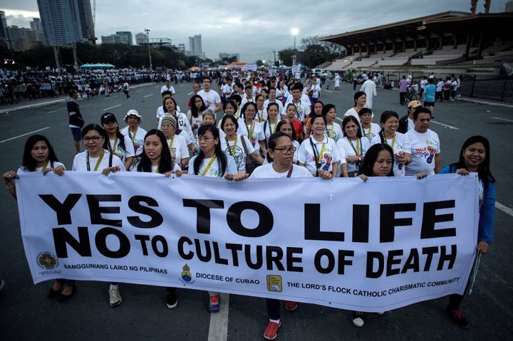 A rally against extrajudicial killings in Philippine President Rodrigo Duterte's drug war in Manila on Feb. 18, 2017.