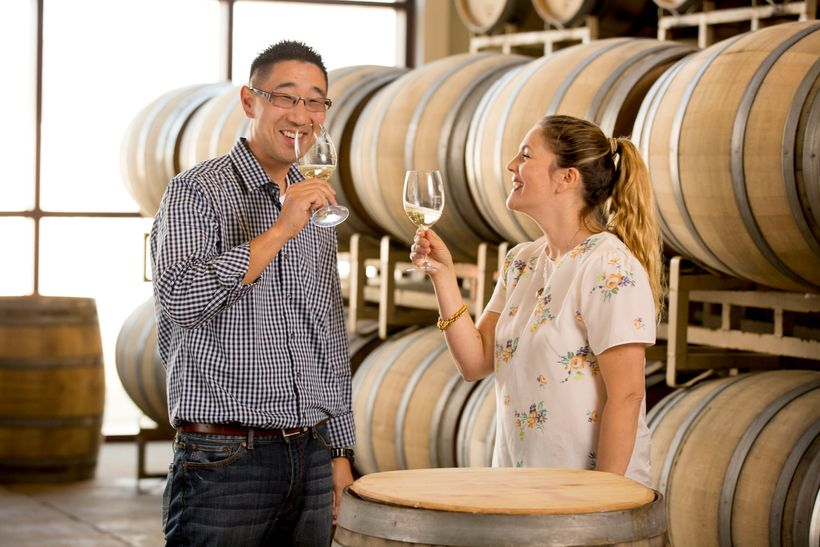 Kris Kato and Drew Barrymore in the barrel room.