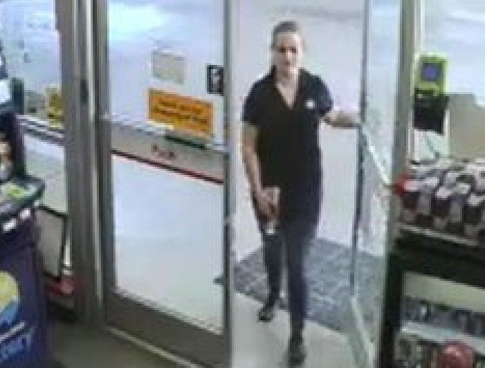 Authorities on Thursday released surveillance photos that show Allison Cope and her car at a gas station on Monday afternoon.
