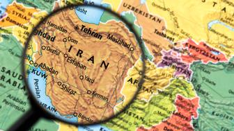 Map of Iran. Detail from the World Atlas. Selective Focus.