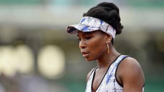 PARIS, FRANCE - JUNE 02:  Venus Williams of the United States of America reacts during her Women's single match against Elise Mertens of Belgium on day six of the 2017 French Open at Roland Garros on June 02, 2017 in Paris, France.  (Photo by Aurelien Meunier/Getty Images)