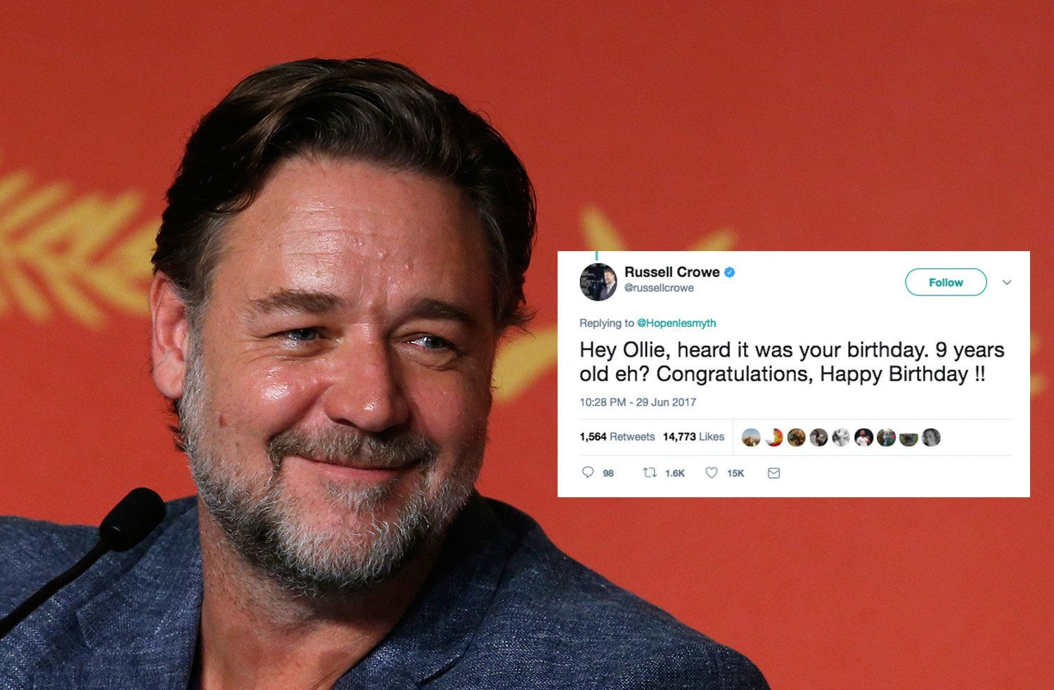 Actor Russell Crowe is among the celebrities who have joined forces to wish a 9-year-old boy a happy birthday via Twitter.