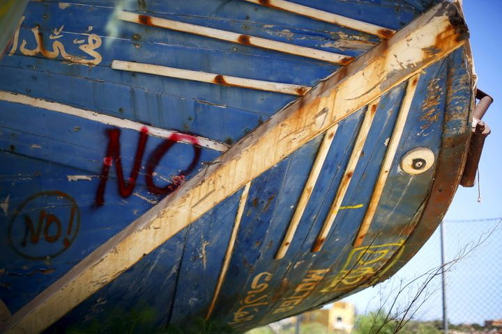 The wreckage of a fishing boat that was used by immigrants in Lampedusa.