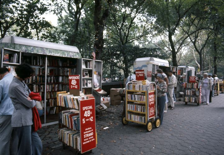 Mobile book carts in Central Park from Strand Bookstore in 1976.