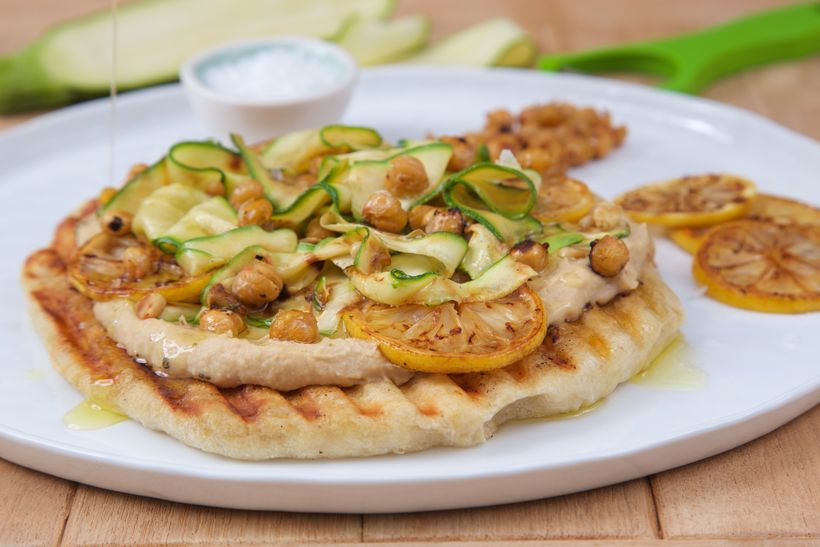 Grilled Zucchini and Lemon Pizza with Crispy Chickpeas and Lemon Oil