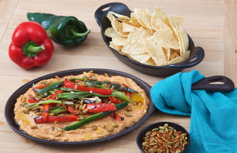 Grilled Fajita Dip with Chipotle Toasted Pumpkin Seeds