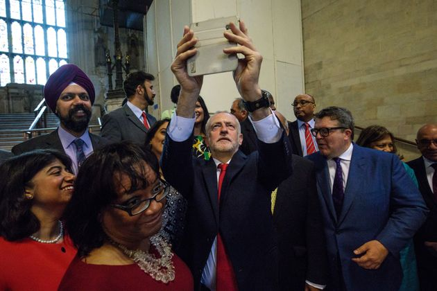 Jeremy Corbyn taking a selfie with Labour