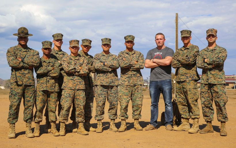 """Dakota Meyer, second from right, with Marines from Lima Company, 3rd Recruit Training Battalion, Marine Corps Recruit Depot"