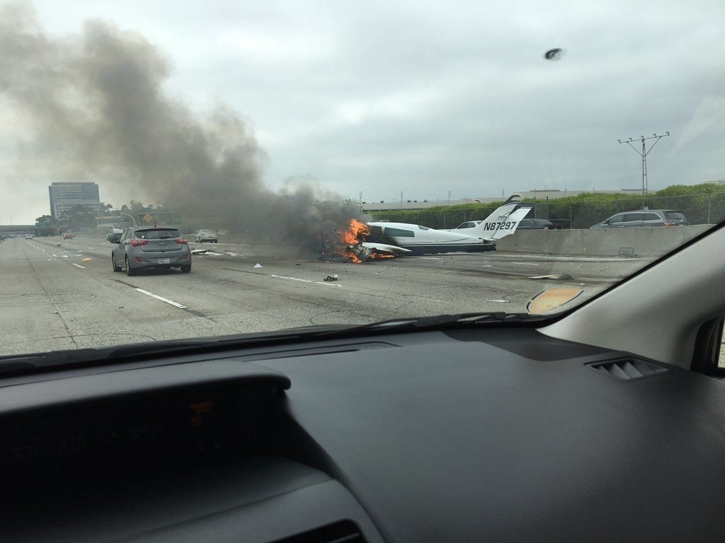 Plane Crash Lands, Bursts Into Flames On California's 405