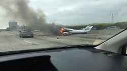 Plane Crash Lands, Bursts Into Flames On California's 405