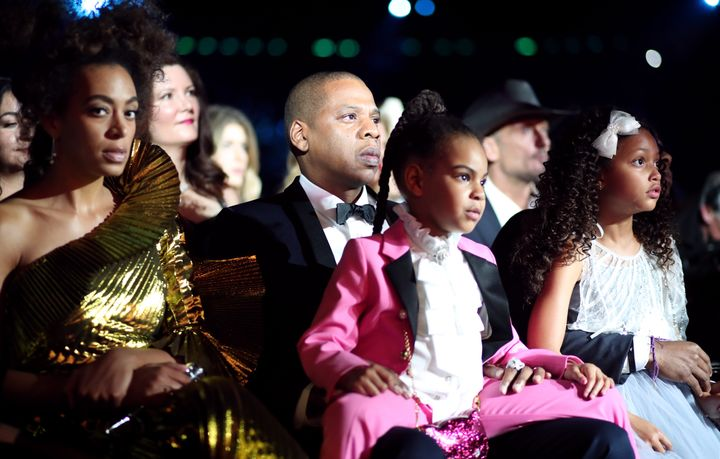Jay Z with his daughter Blue Ivy and sister-in-law Solange at the 2017 Grammy Awards.