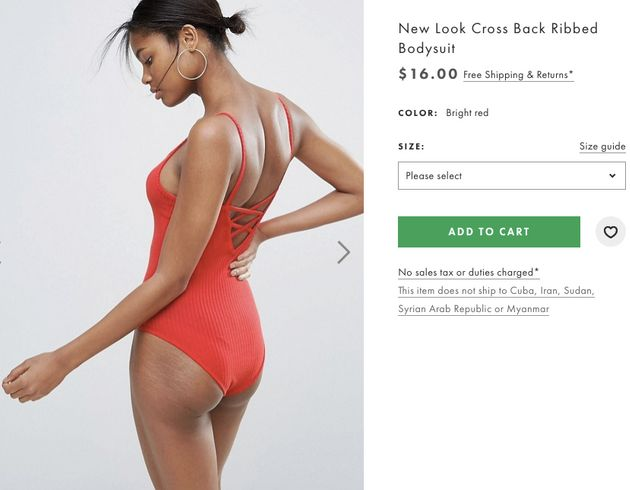 New look cross back ribbed bodysuit, $16 at