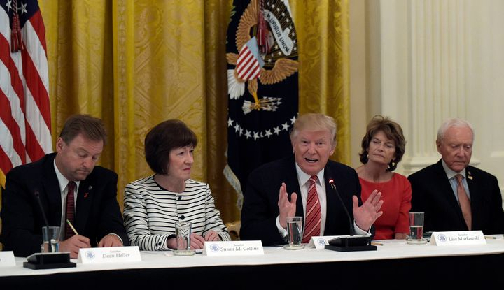 President Donald Trump speaks as he meets with Republican senators on health care in the East Room of the White House in Was