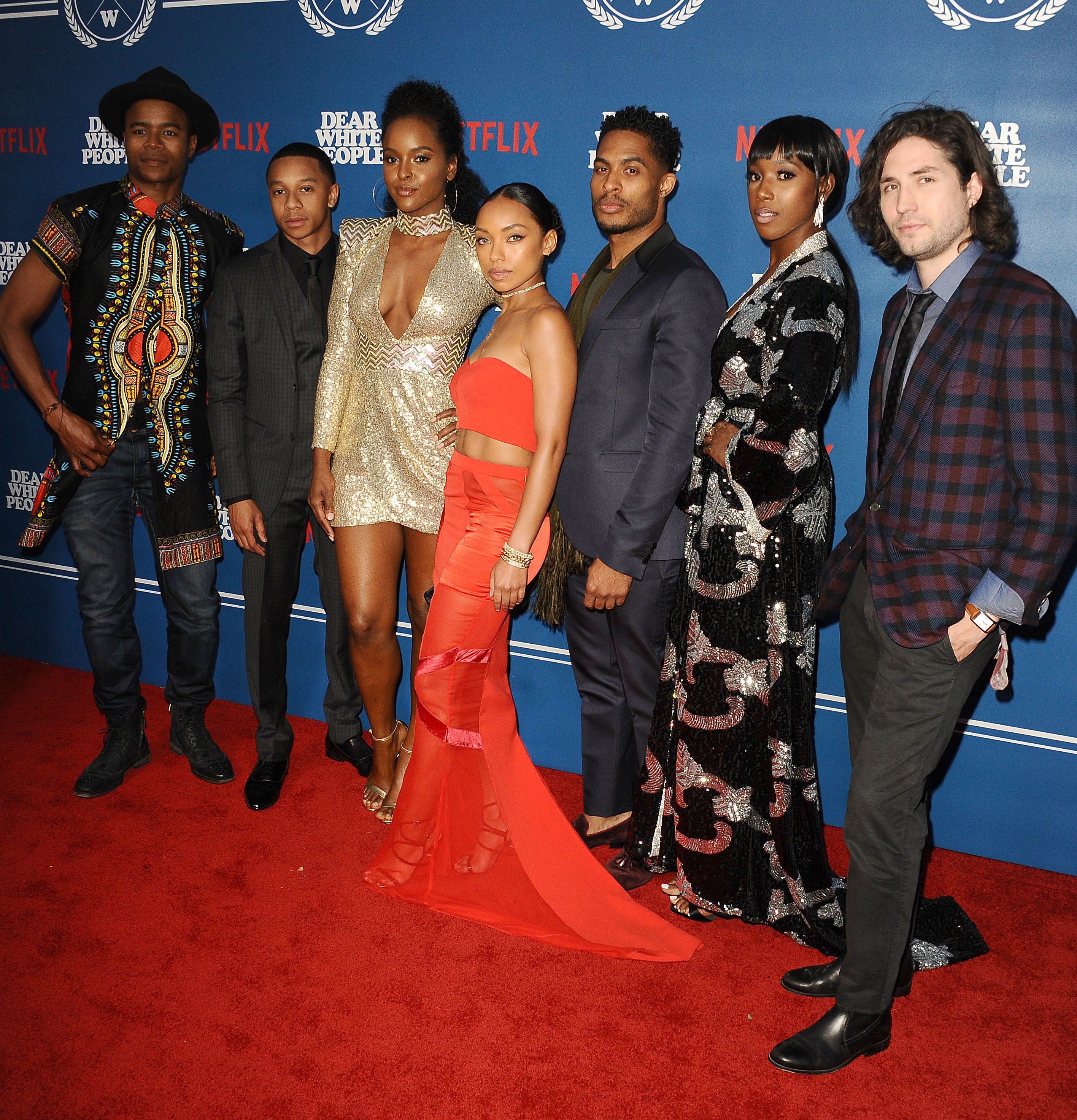 LOS ANGELES, CA - APRIL 27:  (L-R) Actors Marque Richardson, DeRon Horton, Antoinette Robertson, Logan Browning, Brandon P Bell, Ashley Blaine Featherson, and John Patrick Amedori attend the premiere of 'Dear White People' at Downtown Independent on April 27, 2017 in Los Angeles, California.  (Photo by Jason LaVeris/FilmMagic)