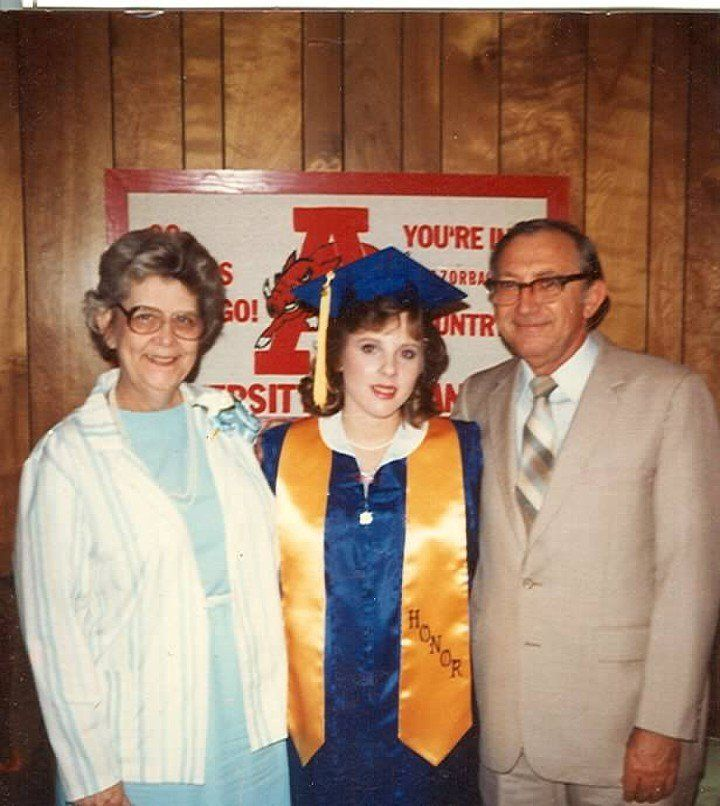 Robin and the Millers at her high school graduation in 1985.