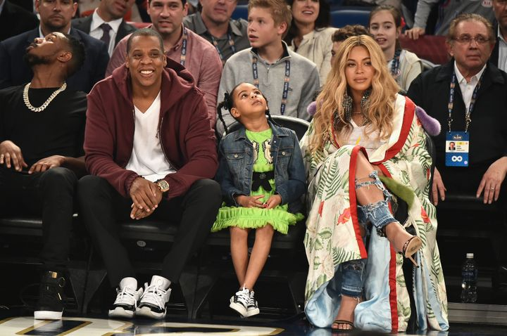 Jay-Z and Beyoncé with their 5-year-old daughter, Blue Ivy