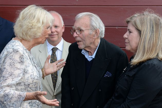 The Duchess of Cornwall meets war veteran Edward Rose who was incarcerated in with her father Major Bruce