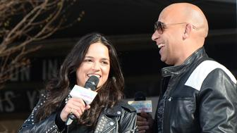 NEW YORK, NY - APRIL 11:  Michelle Rodriguez and Vin Diesel visit Washington Heights on behalf of 'The Fate Of The Furious' on April 11, 2017 in New York City.  (Photo by Kevin Mazur/Getty Images for Universal Pictures)