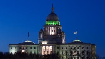 Rhode Island State Capitol at dusk, Providence, Rhode Island. (Photo By: Visions of America/UIG via Getty Images)