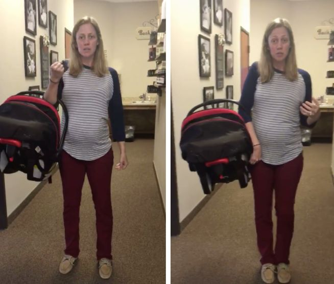 Chiropractor Emily Puente demonstrates the differences between the typical way of carrying a car seat, left, and the healthier way.