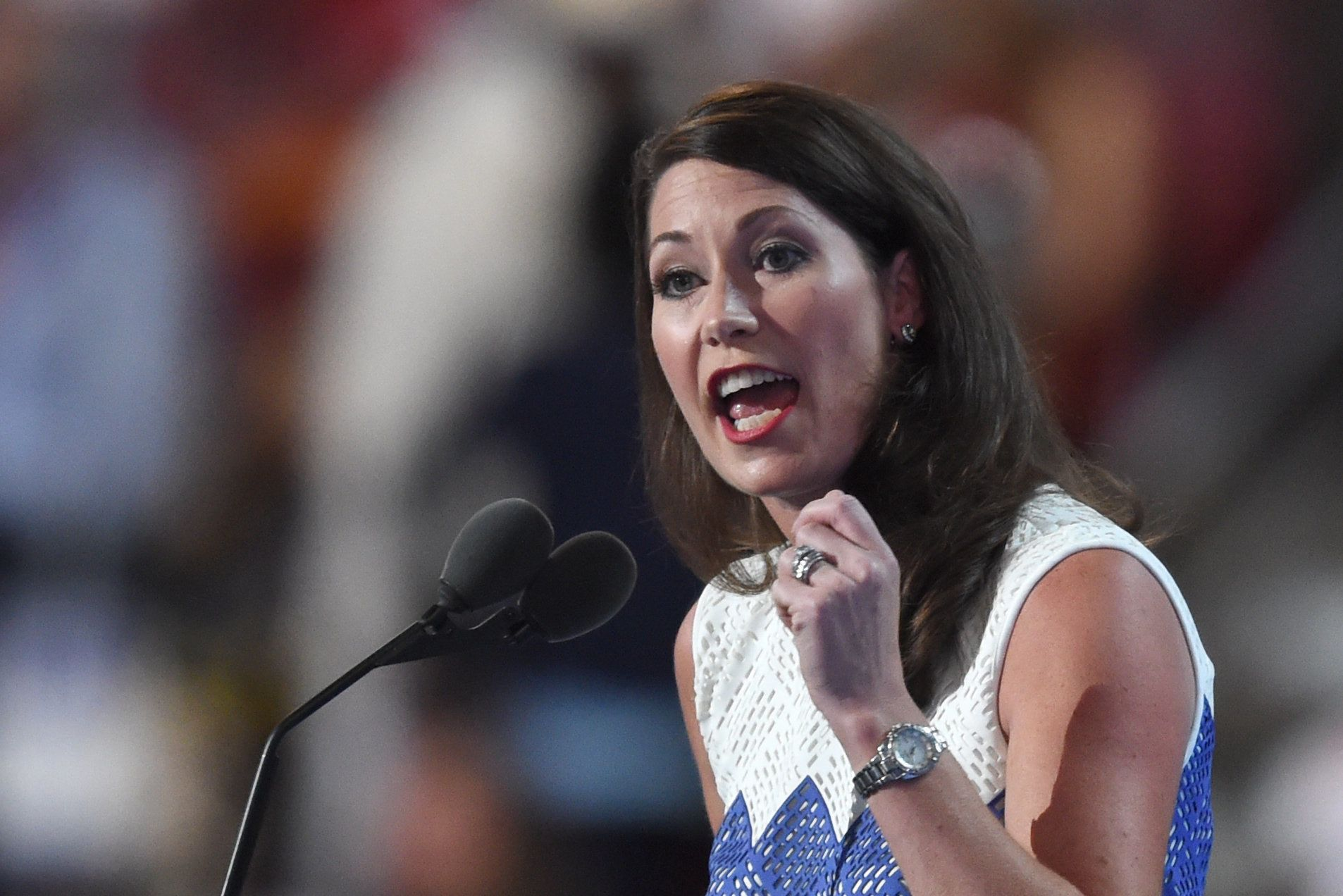 Kentucky Secretary of State Alison Lundergan Grimes speaks during Day 2 of the Democratic National Convention at the Wells Fargo Center in Philadelphia, Pennsylvania, July 26, 2016. / AFP / Timothy A. CLARY        (Photo credit should read TIMOTHY A. CLARY/AFP/Getty Images)