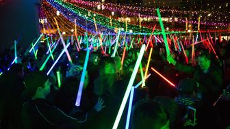 LOS ANGELES, CA - DECEMBER 16:  A general view of atmosphere and Lightsaber battles at Glow Sword Battle LA 2016 at Pershing Square on December 16, 2016 in Los Angeles, California.  (Photo by Gabriel Olsen/Getty Images,)