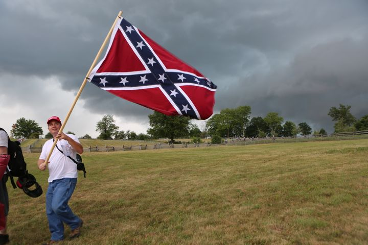 Part of the scene at the Gettysburg Battlefield on Saturday.