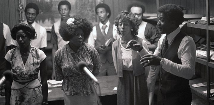 Oak Grove Acapella Singers, a Gospel group of Chester County, Tennessee, being recorded while singing in the office of the pr