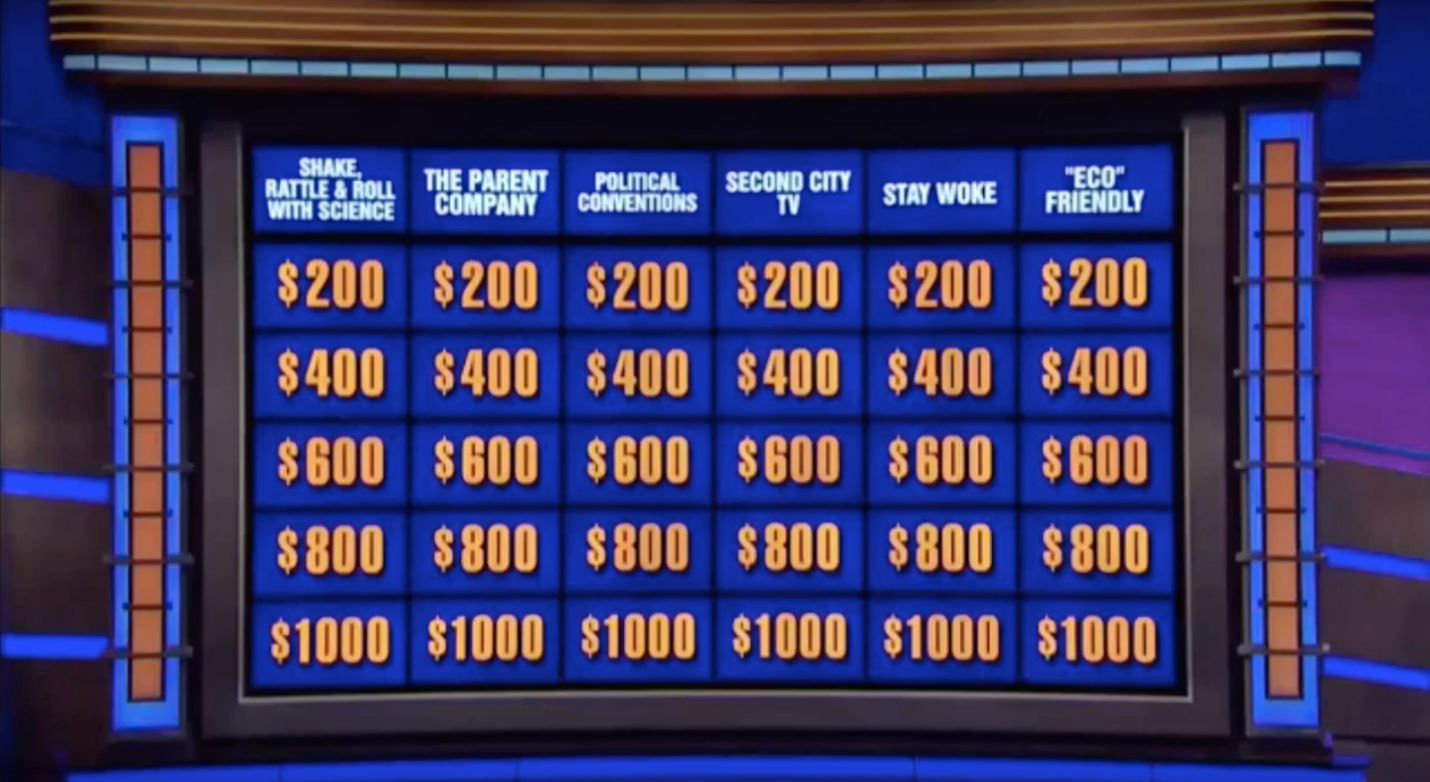 Popular quiz show Jeopardy featured a category called Stay Woke on Friday night