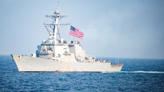 FILE PHOTO: The Arleigh Burke-class guided-missile destroyer USS Stethem transits waters east of the Korean peninsula during a photo exercise including the United States Navy and the Republic of Korea Navy during Operation Foal Eagle March 22, 2017.  Picture taken March 22, 2017. U.S. Navy/Mass Communication Specialist 3rd Class Kurtis A. Hatcher/Handout via REUTERS  ATTENTION EDITORS - THIS PICTURE WAS PROVIDED BY A THIRD PARTY.