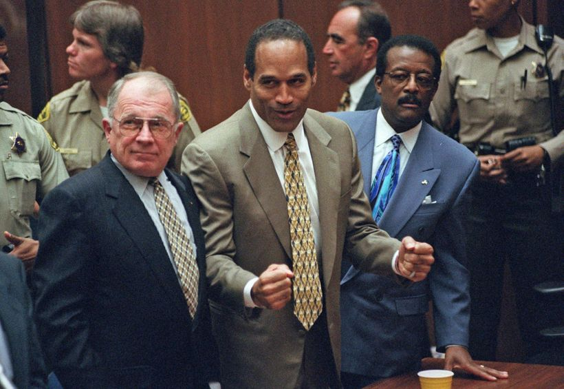 """""""O.J. Simpson reacts in 1995 as he is found not guilty of murdering his  ex-wife, Nicole Brown Simpson, and her friend Ronald"""