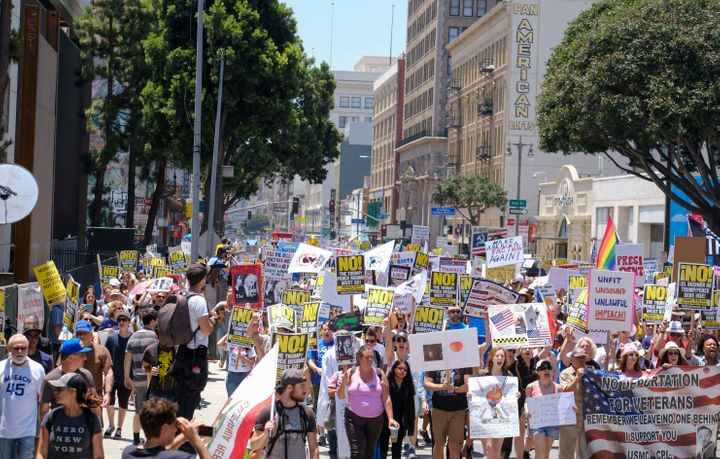 Protesters march through downtown Los Angeles.