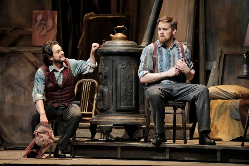 Arturo Chacón-Cruz (Rodolfo) and Audun Iversen (Marcello) in a scene from Puccini's <em><strong>La Bohème</strong></em>