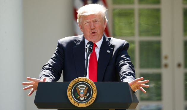 U.S. President Donald Trump announces his decision that the United States will withdraw from the Paris...