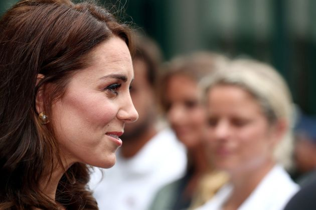 Catherine, Duchess of Cambridge on day one of the Wimbledon Championships at The All England Lawn Tennis...