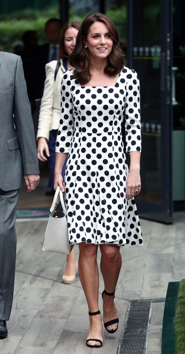 Catherine, Duchess of Cambridge, Patron of the All England Lawn Tennis and Croquet Club (AELTC) on day one of the Wimbledon Championships at The All England Lawn Tennis and Croquet Club, Wimbledon on 3 July 2017 in London, England.