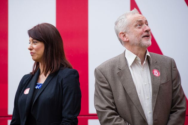 Gloria De Piero and Jeremy Corbyn during the'Labour In For Britain' campaign bus at a launch...