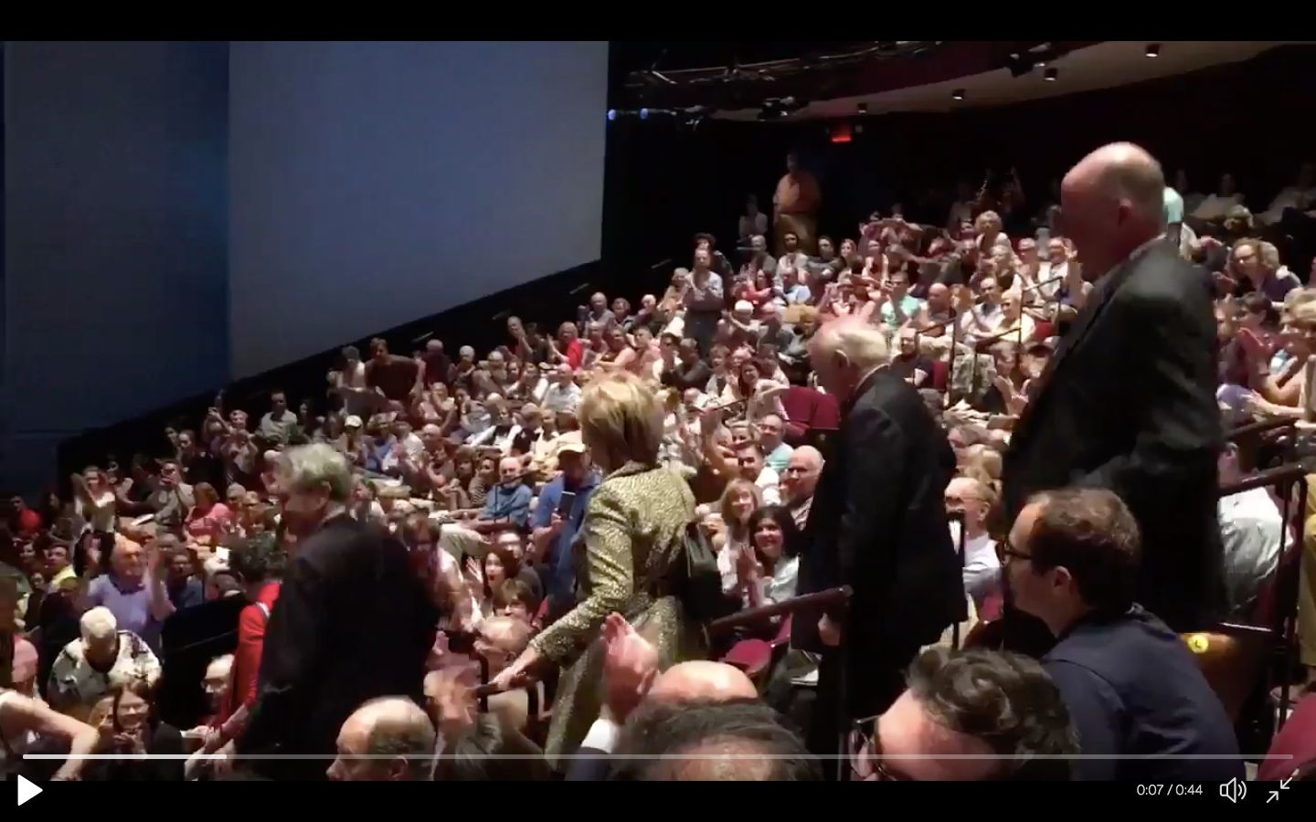 "This time Hillary Clinton received a standing ovation ahead of a performance of the play ""Oslo."""