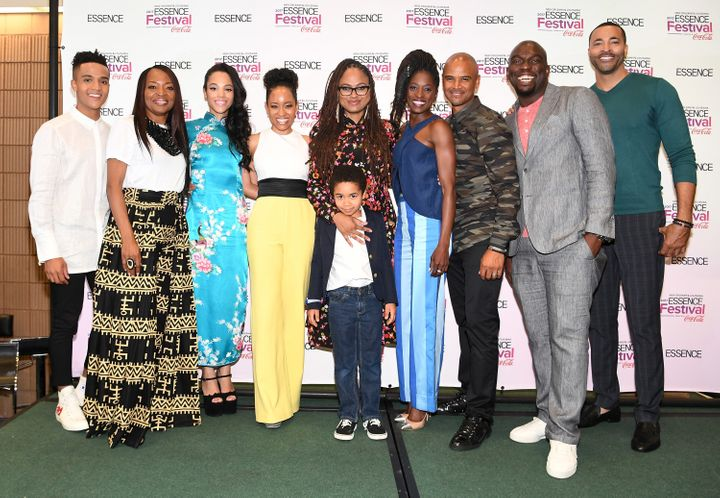 "DuVernay (center) poses with the cast of ""Queen Sugar"" including Omar Dorsey, Timon Kyle Durrett, Ethan Hutchison, Dawn-Lyen"