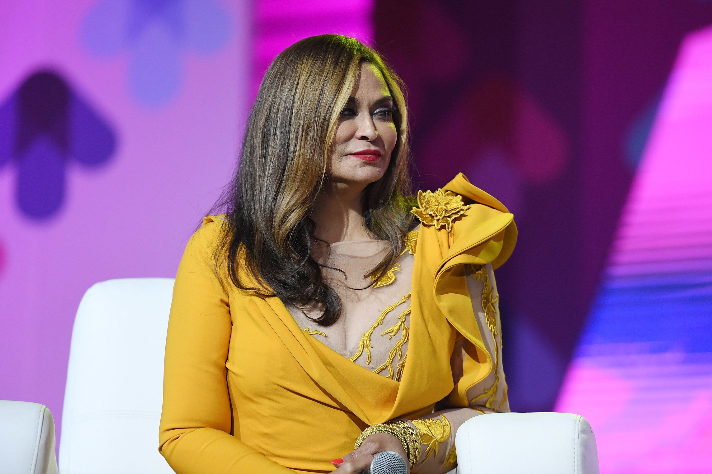 NEW ORLEANS, LA - JUNE 30:  Tina Knowles Lawson speaks onstage at the 2017 ESSENCE Festival presented by Coca-Cola at Ernest N. Morial Convention Center on June 30, 2017 in New Orleans, Louisiana.  (Photo by Paras Griffin/Getty Images for 2017 ESSENCE Festival )