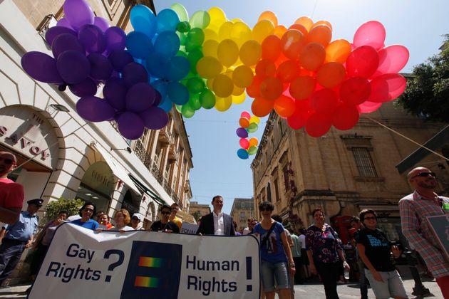 A gay pride parade in Valletta, the capital of Malta, in