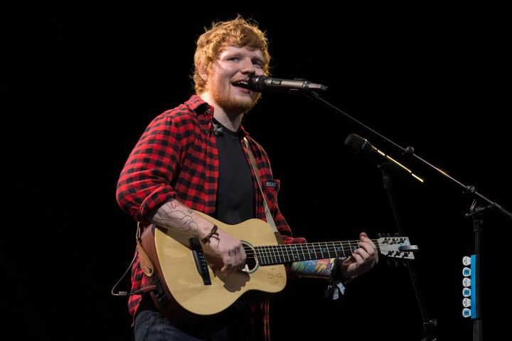 Ed Sheeran performs on the Pyramid Stage at the Glastonbury Festival