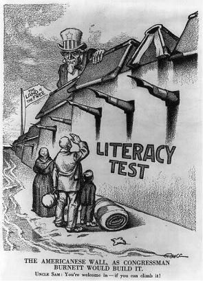 This political cartoon is from 1916. The idea of using a wall to keep out immigrants is not new.