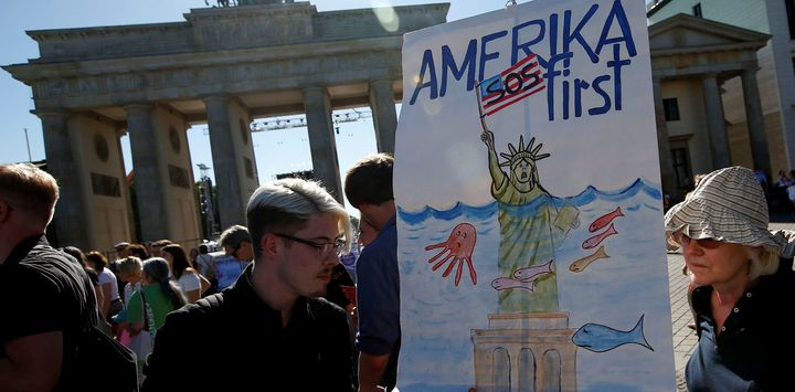 Protests at the Brandenburg Gate, in Berlin, against the US withdrawal from the Paris climate change deal.