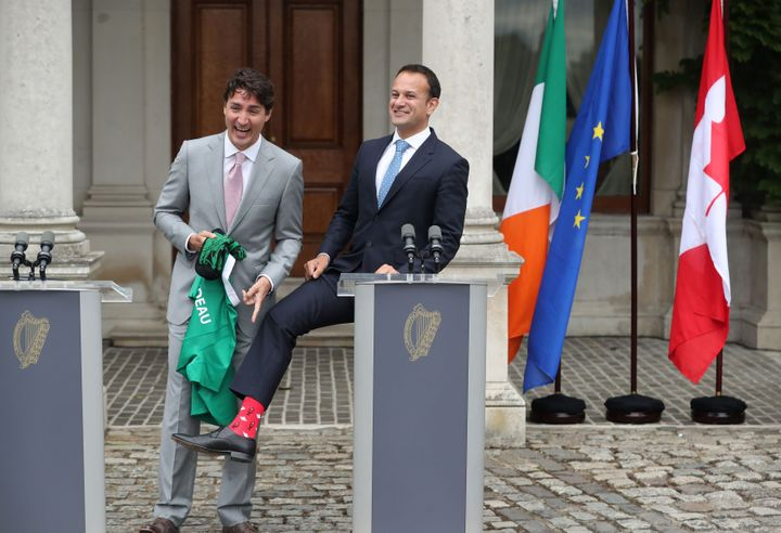 Irish Taoiseach Leo Varadkar, right, showed off his Canadian-themed socks during a press conference with Canadian Prime Minister Justin Trudeau on Tuesday.