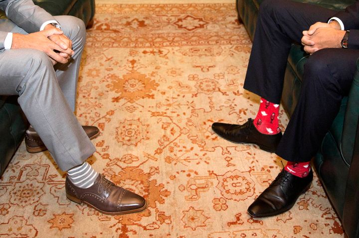 Canadian Prime Minister Justin Trudeau, left, was upstaged by Irish Taoiseach Leo Varadkar's sock game.