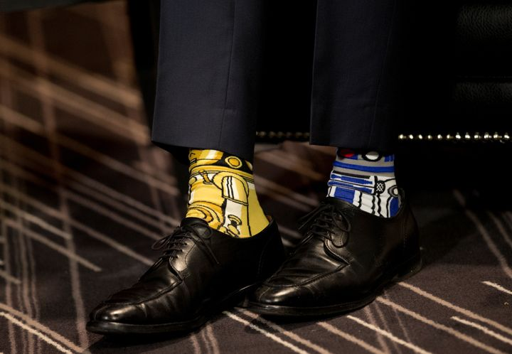 "Justin Trudeau wore these ""Star Wars""-themed socks while meeting former Irish Prime Minister Enda Kenny in May."