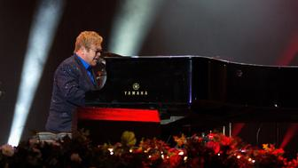 LONDON, ENGLAND - SEPTEMBER 11:  Elton John performs and headlines on stage at BBC R2 Live at Hyde Park on September 11, 2016 in London, England.  (Photo by Jo Hale/Redferns)