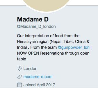 Screenshot of Madame D's Twitter bio which was corrected following the publishing of this article