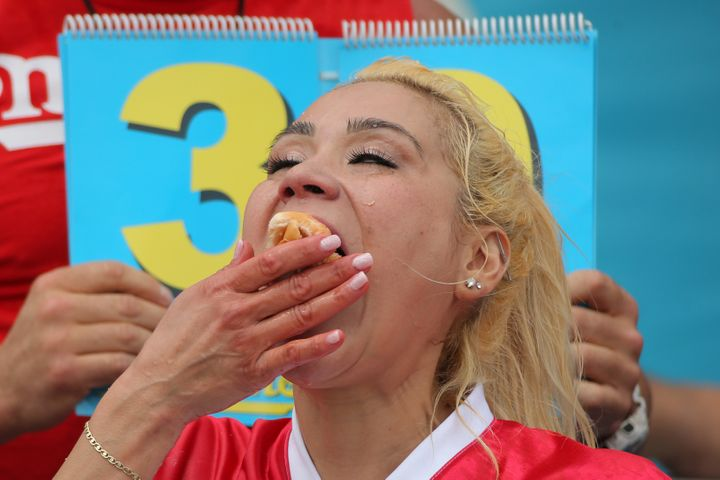 Mikki Sudo is seen competing in this year's Hot Dog-Eating Contest in Brooklyn, New York, on Sunday.